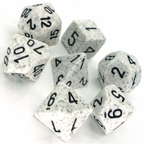 White & Grey 'Arctic Camo' Speckled Polyhedral 7 Dice Set